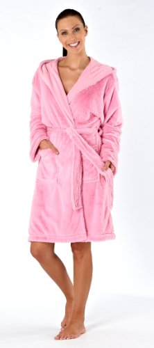 Inspirations Ladies Luxury Fluffy Fleece Dressing Gown Bathrobe S/M 10-12 Pink