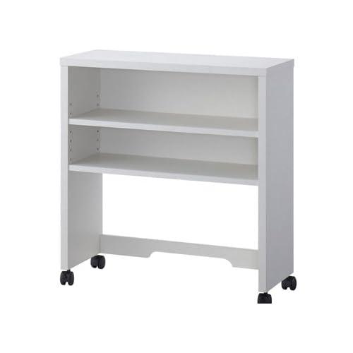 【小島工芸社製】 サイドデスクとしても使用可能な上棚 C3D-70上棚 (ホワイト) 幅70cm キャスター付き