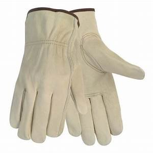 12 Pair Large Leather Work Gloves. Durable Cowhide Leather. Ideal Hand Protection for Construction & Industrial Use. SM to 3X Sizes. (Large) (Tamaño: Large)