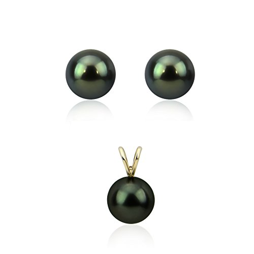 14K Yellow Gold   Round Black Tahitian Cultured Pearl Pendant, Stud Earring Sets