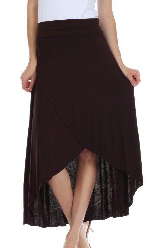 Sakkas 0326 Soft Jersey Feel Solid Color Strapless High Low Dress / Skirt - Brown/Large