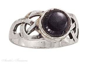 Sterling Silver Black Onyx Ring Weave Shank Size 6