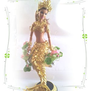Amazon.com: Thai Barbie Mermaid Fantasy Doll Made From Gold for Gift