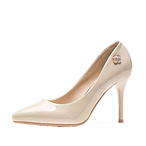 TSin Women's Chic Floret Pearl Decorating Leather Delicate High Heels Girl¡¯s Best Gift(35 M EU/5 B(M) US, White)