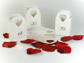 100 Silver Heart Basket Wedding Favor Favors Box Boxes