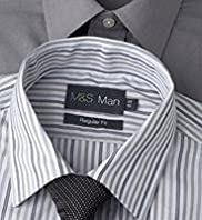 "2 Pack 2"" Longer Easycare Plain & Striped Shirts with Tie"