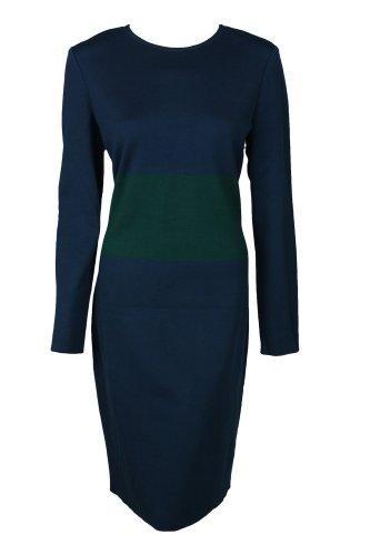 St. John Womens Lapis Emerald Knit Long Sleeve Colorblock Dress 12