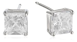 Sterling Silver Princess-Cut Simulated Diamond (2.34 cttw) Stud Earrings by PAJ, Inc