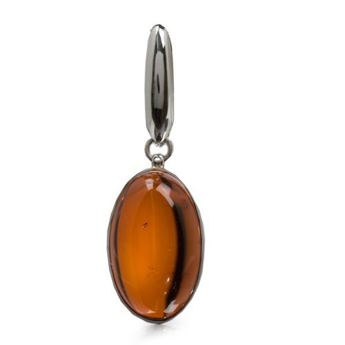 Cherry Amber Sterling Silver Oval Pendant