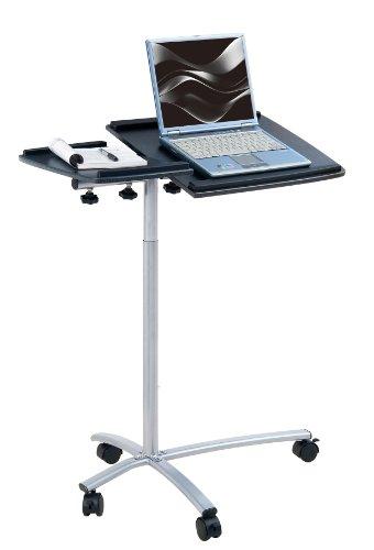 SixBros. Office - Tavolino porta pc notebook nero/grigio - B-001N/58 - MDF granito nero - Struttura metallo grigio