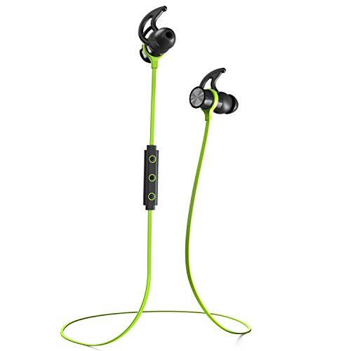 Phaiser BHS-730 Bluetooth Earbuds Runner Headset Sport Earphones with Mic and Lifetime Sweatproof Warranty - Wireless Headphones for Running, Limegreen (Bullet Shaped Headphones compare prices)
