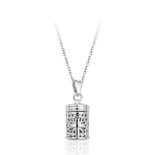 Collana con ciondolo in oro bianco 18 k, a forma di bottiglia di profumo con croce filigranata, da donna, in confezione regalo