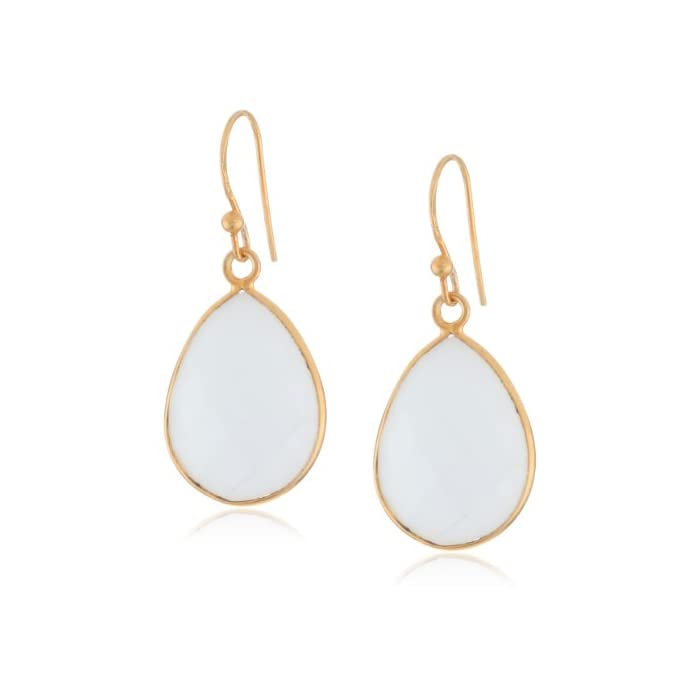 Gold-Plated White Agate Teardrop Earrings