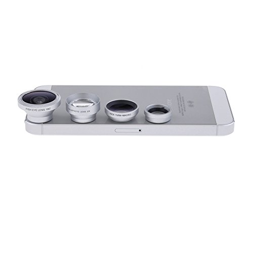 Neewer® Silver 4 In 1 Magnetic Detachable Camera Lens Kit: 2X Telephoto Lens, 180 Degree Fish Eye Lens, Wide Angle With Micro Lens, For Iphone6 6Plus / 5 5C 5S / 4 4S / Samsung Galaxy S5 G900H /S4 I9500 / S3 I9300 / Note 2 Ii / Note 3 Iii/ Note 4 Iv/ Ipad
