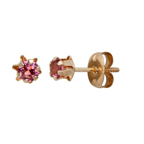 14k Yellow Gold Round Genuine Pink Tourmaline Children's Buttercup Stud Earrings (3mm )