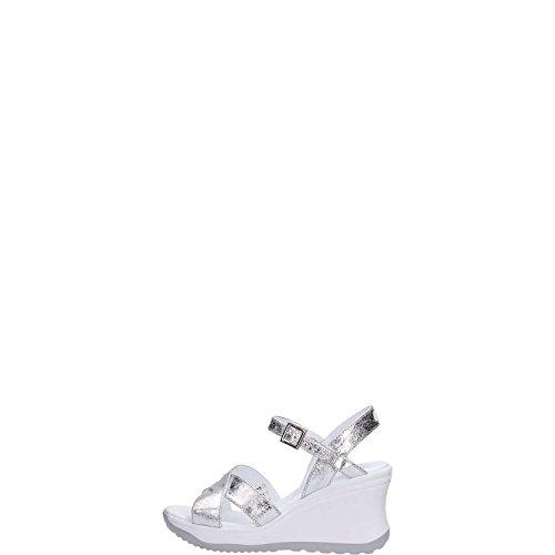 Agile by Rucoline Sandalo con Zeppa Media Alta con Cinturino Vesuvio Art. 1871 82644 1871 A Argento Scarpe Donna Nuova Collezione Primavera Estate 2022