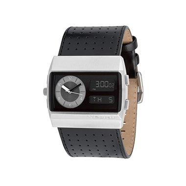Vestal Unisex MCW025 Monte Carlo Silver Black Leather Digital Watch