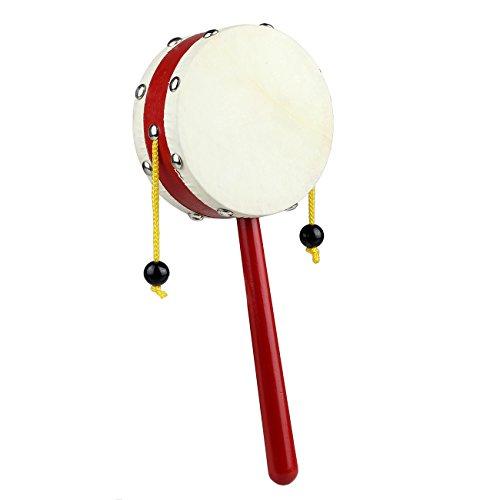 Tera® でんでん太鼓 民芸 ラトルドラム ドラム音楽 がらがら 手を振る楽器 玩具 赤ちゃん おもちゃ 伝統的 和玩具 木製
