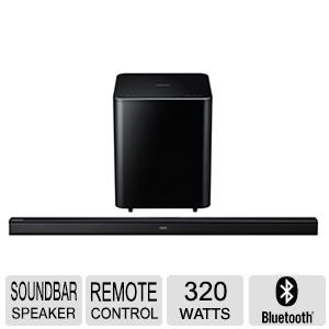 """Samsung 46"""" 320 Watt 2.1 Channel Sound Bar With Wireless Active Subwoofer Home Theater System"""