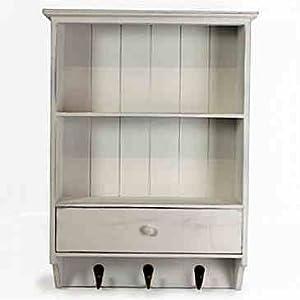 White painted wooden display shelf wall unit - Wooden kitchen shelf unit ...