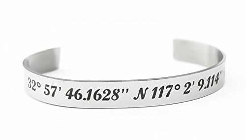 Personalized Latitude & Longitude Cuff Bracelet. Customized coordinate Bracelet, Coordinate Cuff, Personalized gift idea, Personalized Jewelry (Customized Friendship Bracelets compare prices)