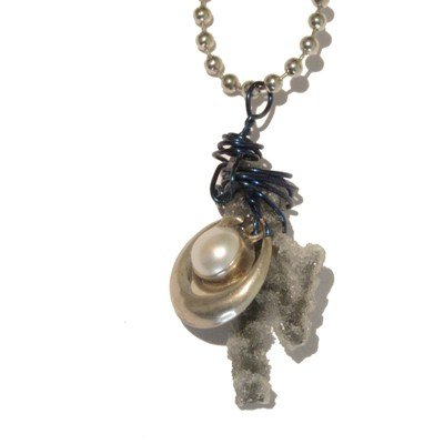 Quartz Necklace 01 Chain Druzy Pearl Sterling Silver Ball Crystal Healing Stone Dangle 22
