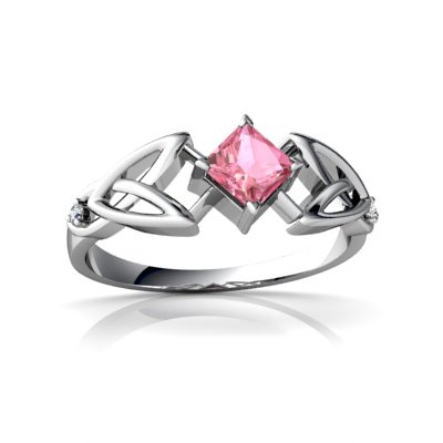 14Kt White Gold Lab Pink Sapphire And Diamond Square Celtic Trinity Knot Ring - Size 9