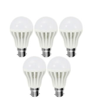 10W PVC LED Bulb (White, Pack Of 5)