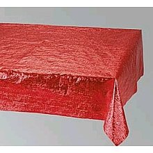 Red Metallic Plastic Rectangular Tablecover