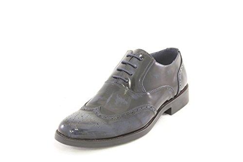 AwAy scarpa stringata inglese coda di rondine Blu nero lucido in pelle shoes real leather blue black