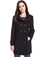 Petite Funnel Neck Double Breasted Coat