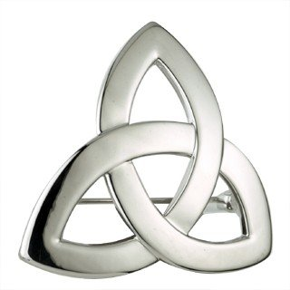 Rhodium Trinity Knot Brooch-Made in Ireland