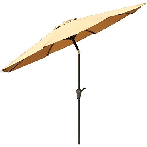 Ollieroo® Patio Umbrella Tilt Beige Aluminum 9FT Outdoor Market Umbrella With Crank 8 Steel Ribs and Wind Vent 100% Polyester