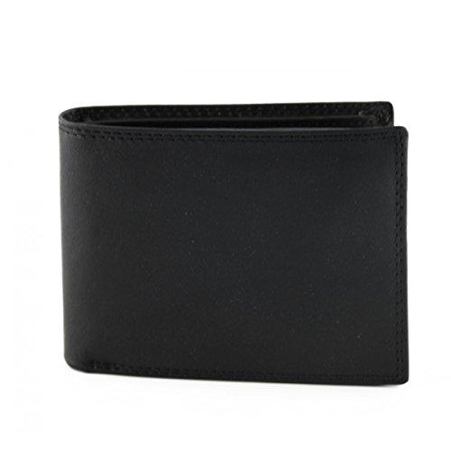 Portafoglio Per Uomo In Vera Pelle, 14 Tasche Portacarte Colore Nero - Pelletteria Toscana Made In Italy - Accessori