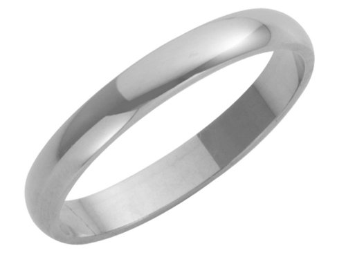 Wedding Ring, 9 Carat White Gold Heavy D Shape, 3mm Band Width