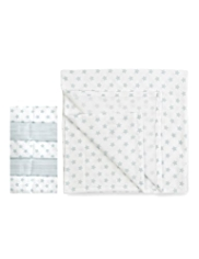 5 Pack Star & Striped Print Muslin Cloths