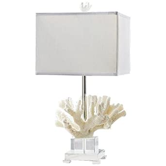 andrew white coral lamp on chrome base table lamps. Black Bedroom Furniture Sets. Home Design Ideas