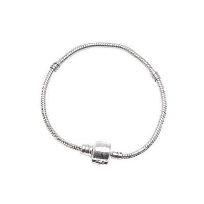 Size 21cm Genuine Solid Sterling Silver Pandora Style Snap Clasp Snake Charm Bracelet. It has the built in threads for stoppers and the like and is Hallmarked 925. The Bracelet is compatible with Pandora, Biagi, Troll, Chamilia and similar European Beads,