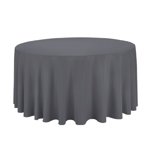 Linentablecloth Round Polyester Tablecloth, 120-Inch, Charcoal front-460162