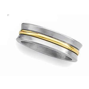 6mm Titanium and 18k Comfort Fit Band, Size 9