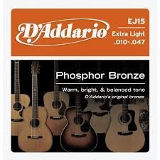 D'Addario EJ15x5 , Acous Guit Strings, Phos Brnz/Rnd Wnd, Ex