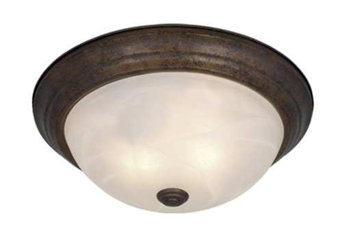 "Saturn Flush Mount Finish / Size / Shade Material: Weathered Patina/4.88"" H x 13.38"" W/Alabaster"