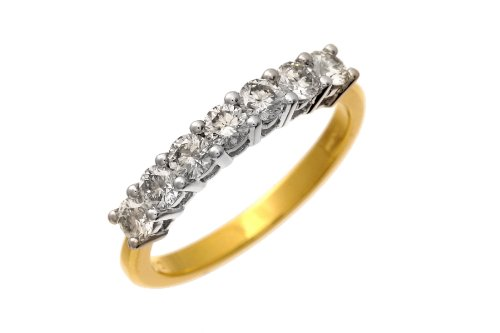 Eternity Ring, 18ct Yellow Gold Ij/I Round Brilliant Certified Diamond Ring, 0.75ct Diamond Weight