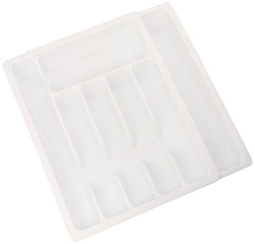 Kesper 30086 - Vassoio portaposate estraibile in plastica, dimensioni 29 - 50 cm x 38 x 6,5 cm, colore: Bianco