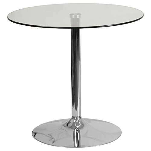 Flash Furniture 31.5 Round Glass Table with 29H Chrome Base