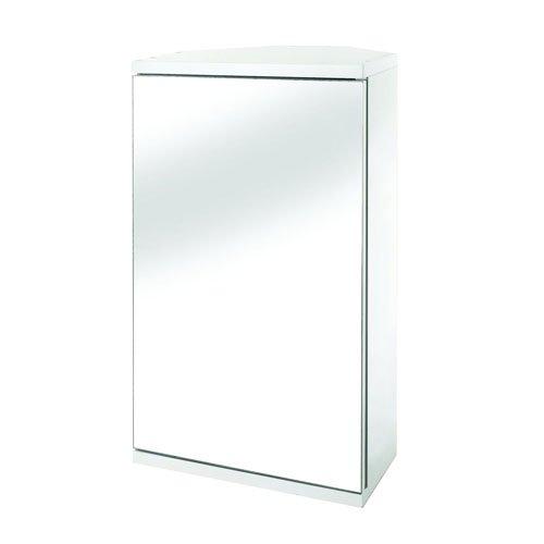 Spiegel-Eckschrank mit Tür, MDF, FSC-zertifiziert, weiß