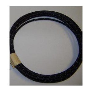 18 Ga Cotton Braided Wire, 10 Foot Section. Color: Black With Blue Tracer