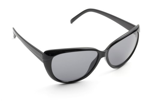 Zoom Boulevard Cat Eye-Style Plastic Frame Sunglasses, Retro Black Frame/Smoke Lens