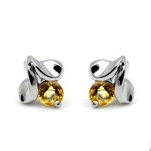 3mm Natural Gem luxury Citrine 925 Sterling Silver Earring stud Gift 019
