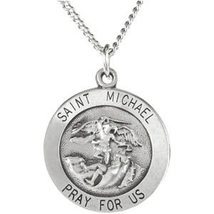 Sterling Silver St. Michael 18 MM Round Medal